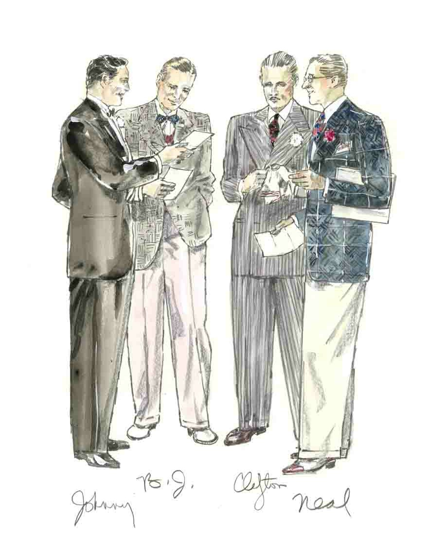Sketch for Jeff Keller as Johnny Catone, Stephen James as B.J. Gibson, Josef Sommer as Clilfton A.Feddington, Joe Grifasi as Neal Tilden, 1940's Radio Hour/ Graphite/ Watercolor/ Gouache on Paper, 18 ½ x 24 inches